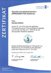 Zertifikat Sprengnetter